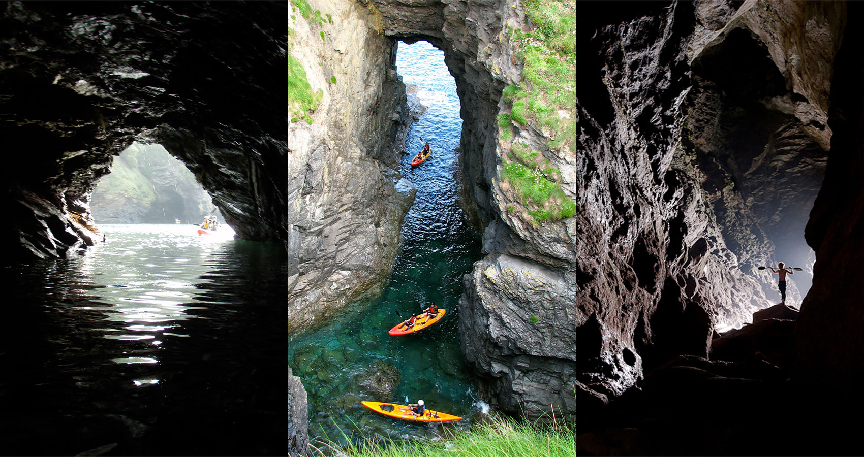 E.g. 'Kayak tours Cornwall' Explore the caves of the North Cornish Coast by kayak.